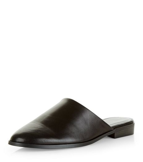 Black Leather Pointed Mules  | New Look
