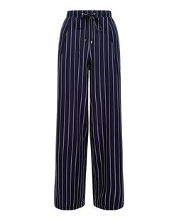 Navy Stripe Wide Leg Trousers  | New Look
