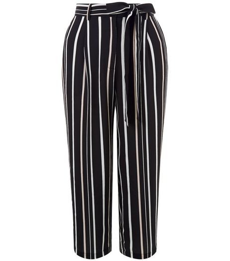 Black Stripe Tie Waist Culottes | New Look