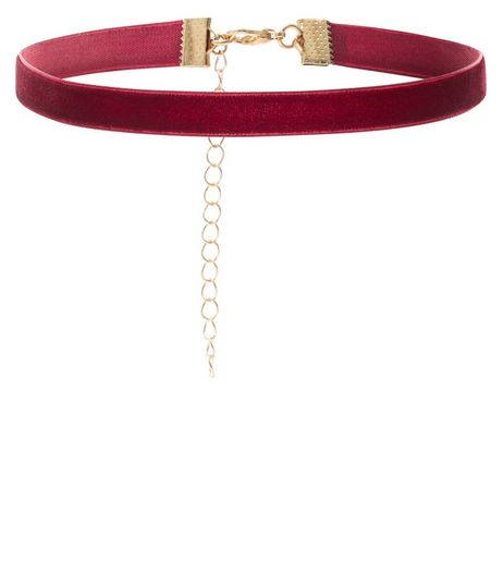 Burgundy Velvet Skinny Choker | New Look