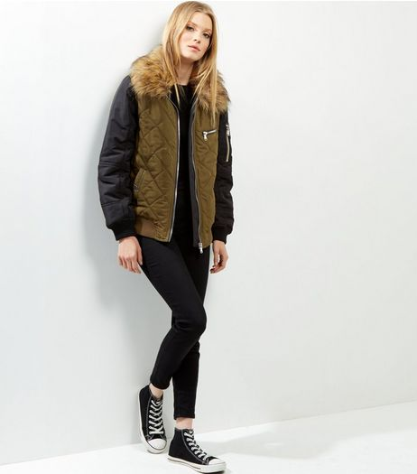 Khaki Faux Fur Trim Quilted Bomber Jacket | New Look