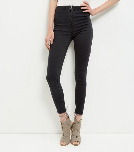 Black Zip Front Washed Skinny Jeans  | New Look