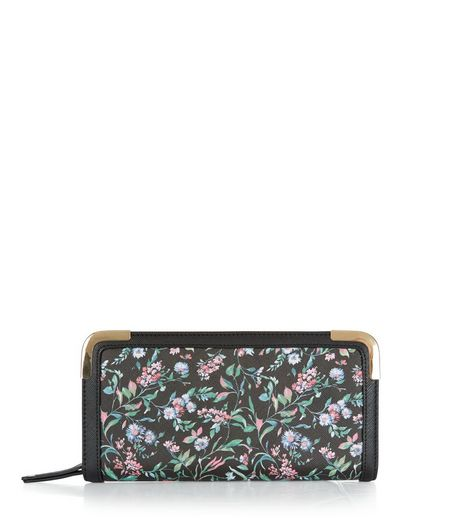 Black Floral Print Zip Around Purse  | New Look