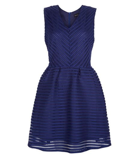 Mela Navy Mesh Stripe Skater Dress | New Look