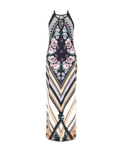 Blue Vanilla Blue Floral Chevron Print Maxi Dress | New Look