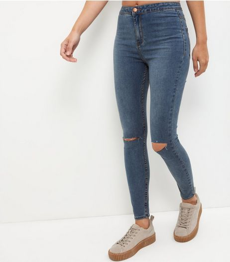 Blue Ripped Knee Skinny Jeans | New Look
