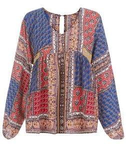 Blue Vanilla Red Patchwork Print Blouse  | New Look