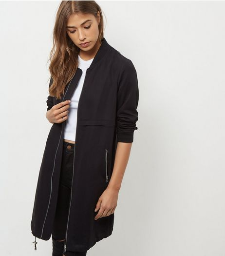 Black Drawstring Longline Bomber Jacket | New Look