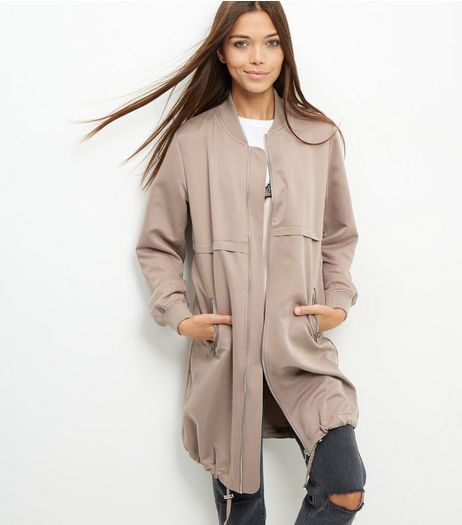 Mink Drawstring Hem Longline Bomber Jacket  | New Look
