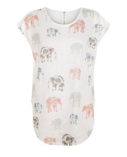 Blue Vanilla Coral Elephant Print Top | New Look