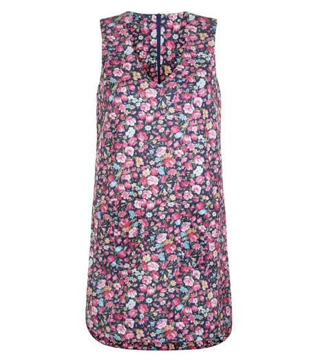 Blue Vanilla Navy Floral Print Pinafore Dress | New Look