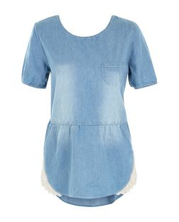 Apricot Pale Blue Peplum Denim Top | New Look