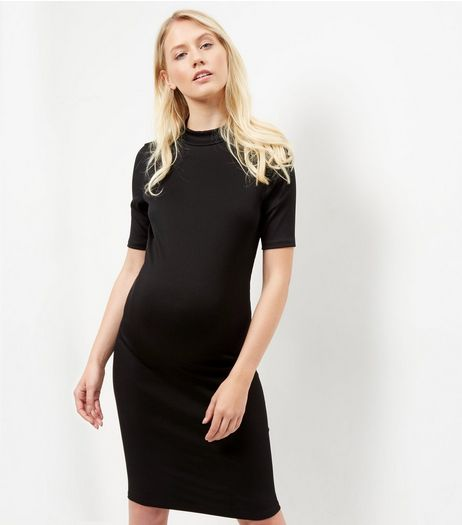 Maternity Black Ribbed Funnel Neck 1/2 Sleeve Dress | New Look