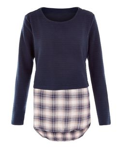 Apricot Navy Check Layered Top | New Look