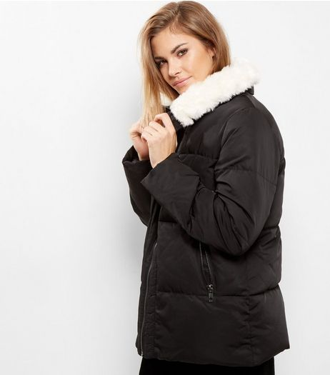 Black Borg Lined Puffer Jacket  | New Look