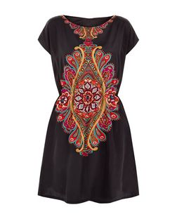 Apricot Black Paisley Print Dress | New Look