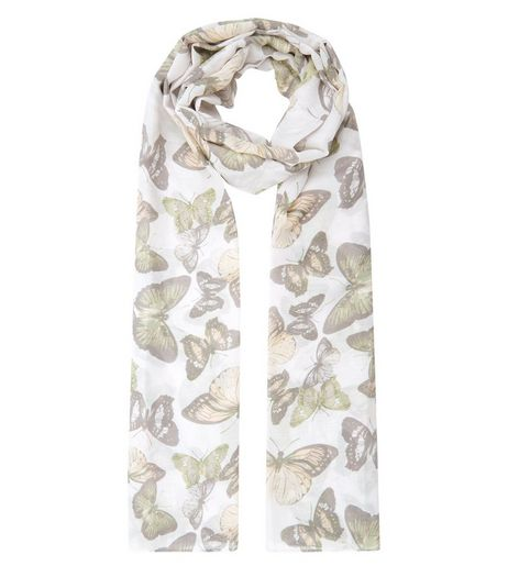 Cream Butterly Print Longline Scarf | New Look