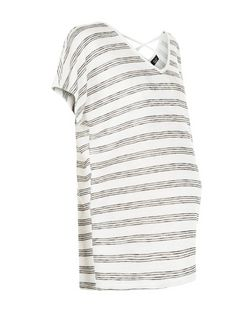 Maternity White Stripe Cross Back T-Shirt | New Look