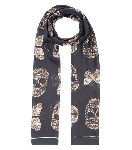 Black Skull Print Longline Scarf | New Look
