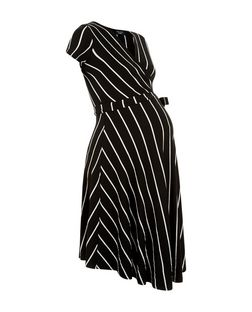 Maternity Black Stripe Tie Wrap Front Dress  | New Look