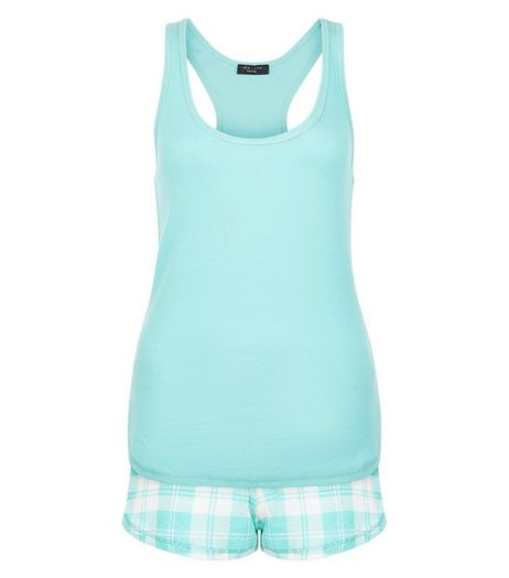 Petite Mint Green Gingham Check Pyjama Set | New Look