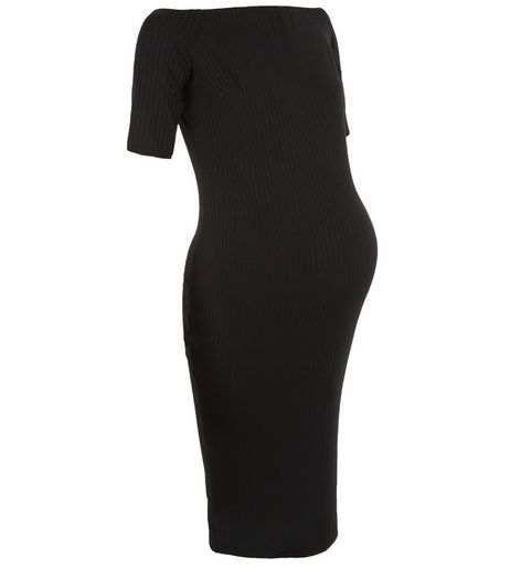 Maternity Black Ribbed Bardot Neck Dress | New Look