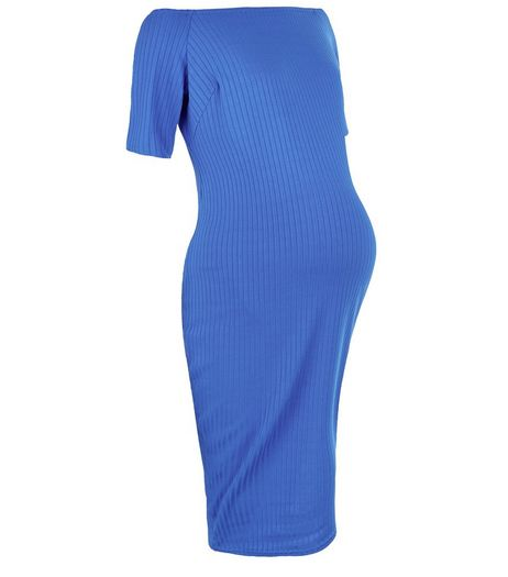 Maternity Blue Ribbed Bardot Neck Dress | New Look