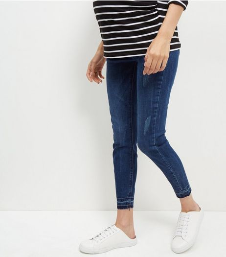 Maternity Navy Ripped Skinny Jeans | New Look