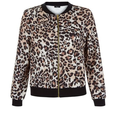 Petite Brown Animal Print Bomber Jacket | New Look