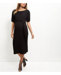 Maternity Black Pleated Midi Dress | New Look