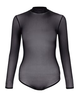 Petite Black Sheer Mesh Long Sleeve Bodysuit | New Look