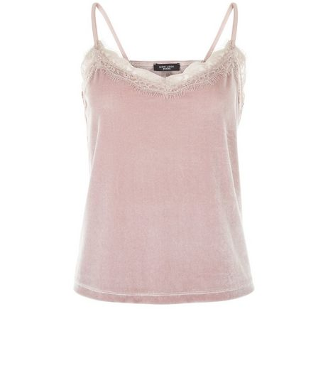 Petite Mink Velvet Lace Trim Cami  | New Look