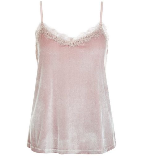 Tall Mink Velvet Lace Trim Cami | New Look