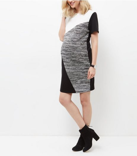 Maternity Black Colour Block Tunic Dress | New Look
