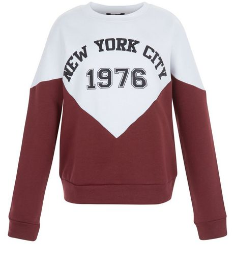 Teens Burgundy New York City Colour Block Sweater | New Look