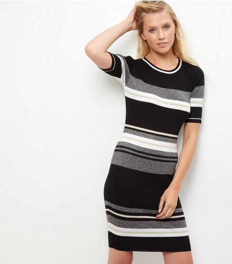 Tall Black Stripe Short Sleeve Dress | New Look