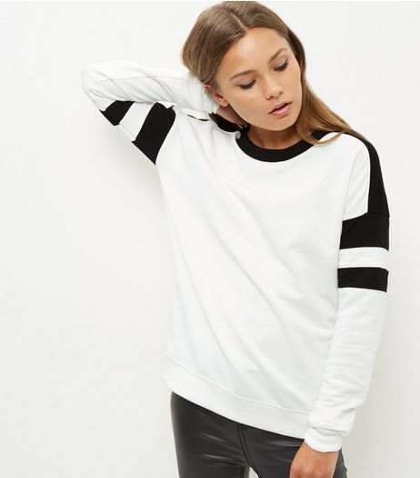 Tall White Colour Block Sweater  | New Look