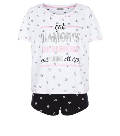 Black Diamond Print Pyjama Set | New Look