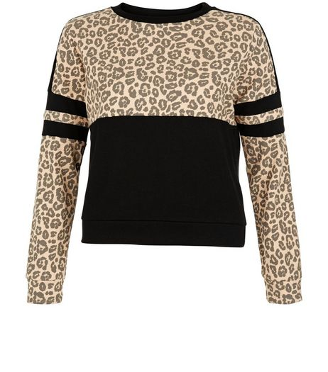 Teens Brown Animal Print Colour Block Sweater | New Look