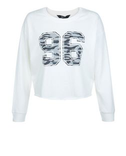Teens Cream Camo 96 Print Sweater | New Look