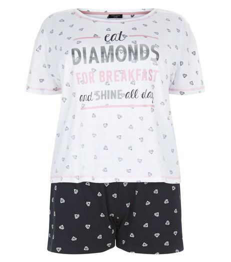 Curves Black Diamond Print Pyjama Set | New Look