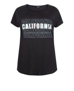 Curves Black California Holographic T-Shirt  | New Look