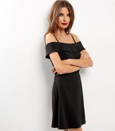 Black Bardot Neck Strappy A-Line Dress | New Look