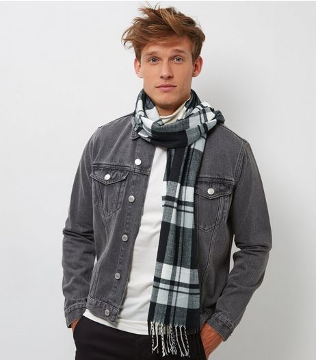 Black Check Tassel Hem Woven Scarf | New Look