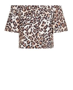 Brown Animal Print Bardot Neck Top  | New Look