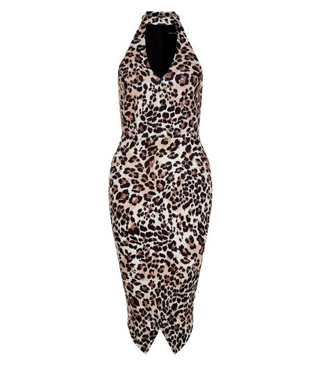 Brown Animal Print Funnel Neck Bodycon Dress  | New Look