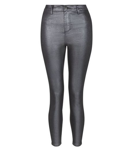 Petite Black Metallic Super Skinny Jeans | New Look