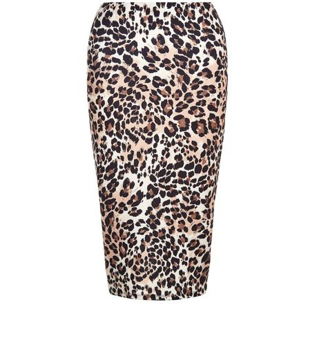 Brown Animal Print Pencil Skirt  | New Look