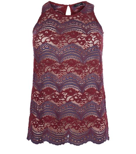 Curves Blue Stripe Lace Vest | New Look