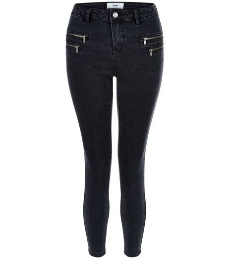 Petite Black Zip Pocket Skinny Jeans | New Look
